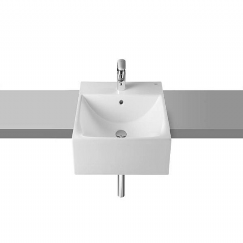 Roca Diverta Semi-Recessed Basin -500mm - 1 Tap Hole - White